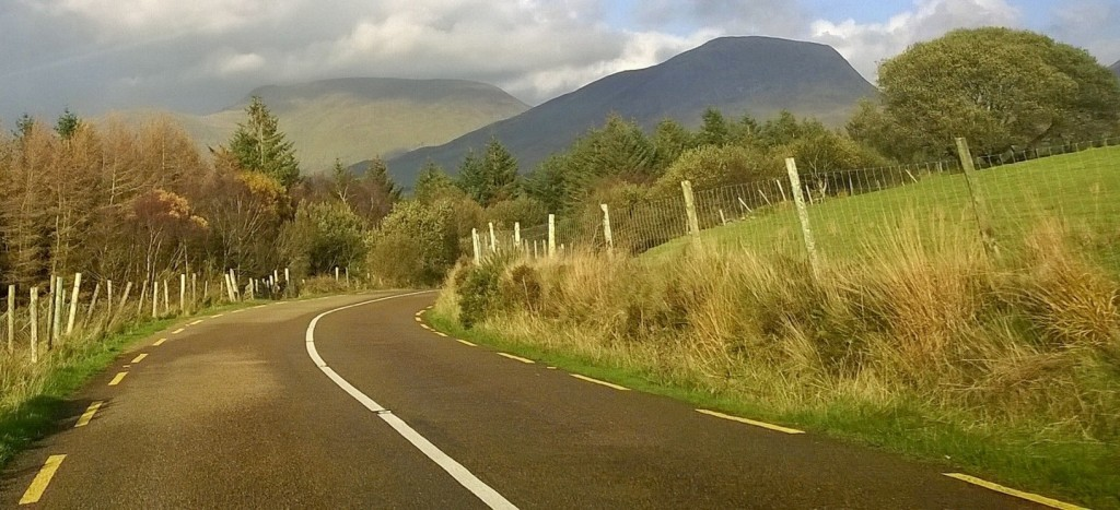 driving uphill in Kerry